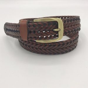 Other - Brown Braided Leather Belt Gold Tone Buckle